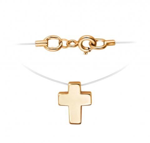 Маленький крестик из золота 585 пробы на леске-невидимке с золотыми замочками