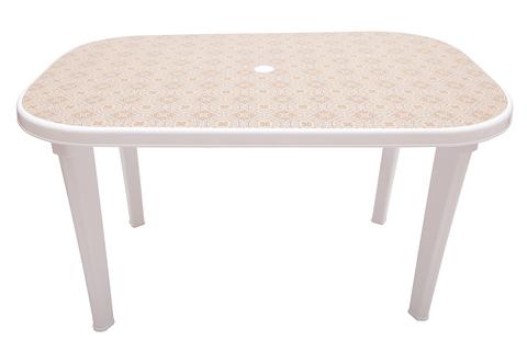 Пластиковый стол овальный с рисунком белый