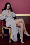 Теплый женский халат с окантовкой B&B