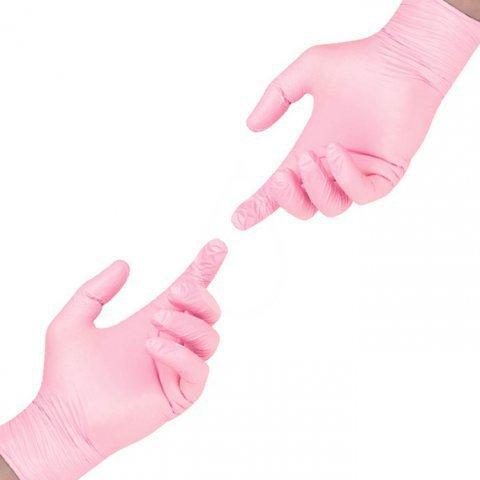 Перчатки нитрил розовые SunViv M, 100 шт