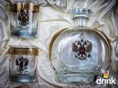 Подарочный  набор «Родина»: штоф 800 мл, 2  стакана 275 мл, фото 2
