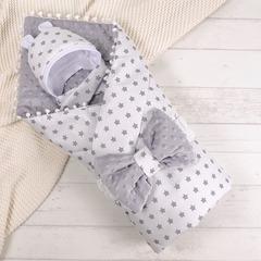 СуперМамкет. Конверт-одеяло с бантом и шапочкой Звездочки, серый вид 1