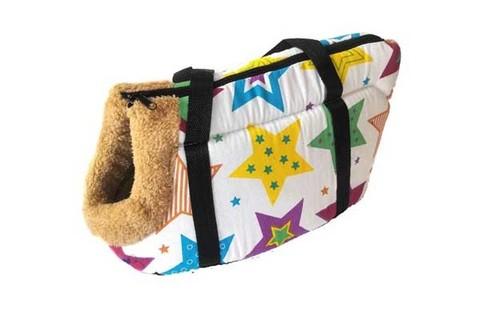 Сумка-переноска для собак с меховой отделкой Звёздочки