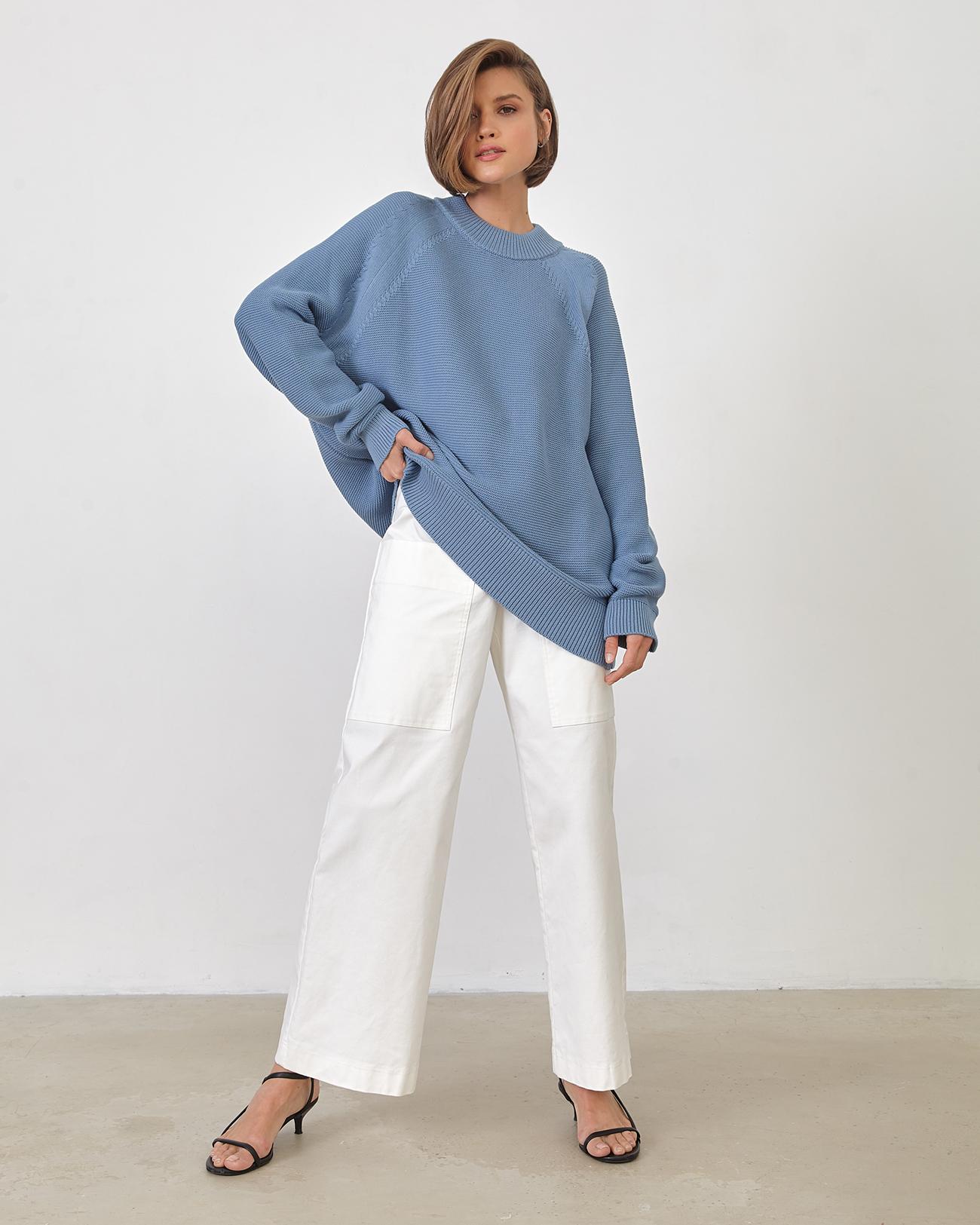 Джемпер из хлопка синего цвета фото