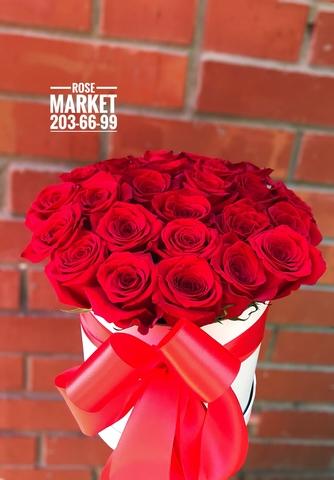 25 роз в шляпной коробке #1922