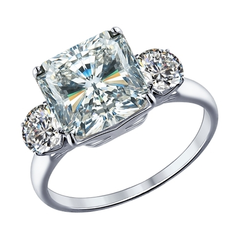 94012077- Кольцо  из серебра с крупным, квадратным фианитом