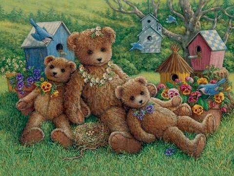 Алмазная Мозаика 40x50 Медвежата и скворечники (арт. S451)