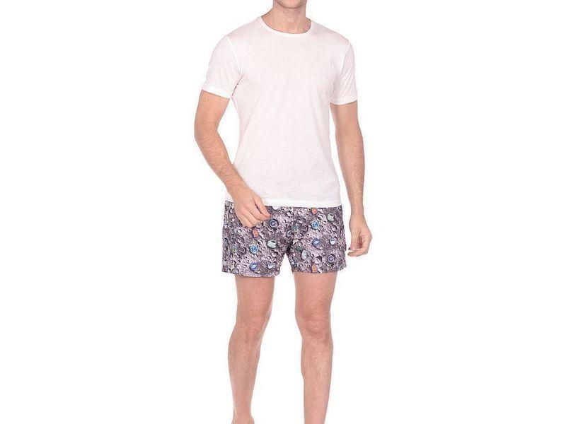 Шорты пляжные мужские  JOHN FRANK серые с принтом CRATER JFSS19SW30