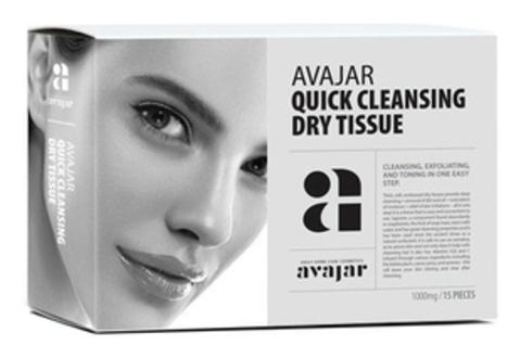 AVAJAR | Сухие салфетки для демакияжа и умывания, (15 шт в упаковке) (Quick cleansing dry tissue)