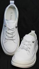 Женские белые туфли кроссовки городской стиль El Passo sy9002-2 Sport White.