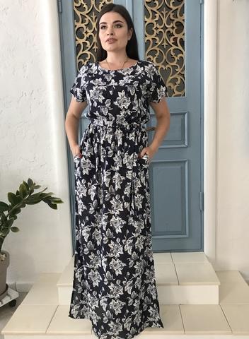 Стелла. Длинное платье больших размеров. Крупные цветы