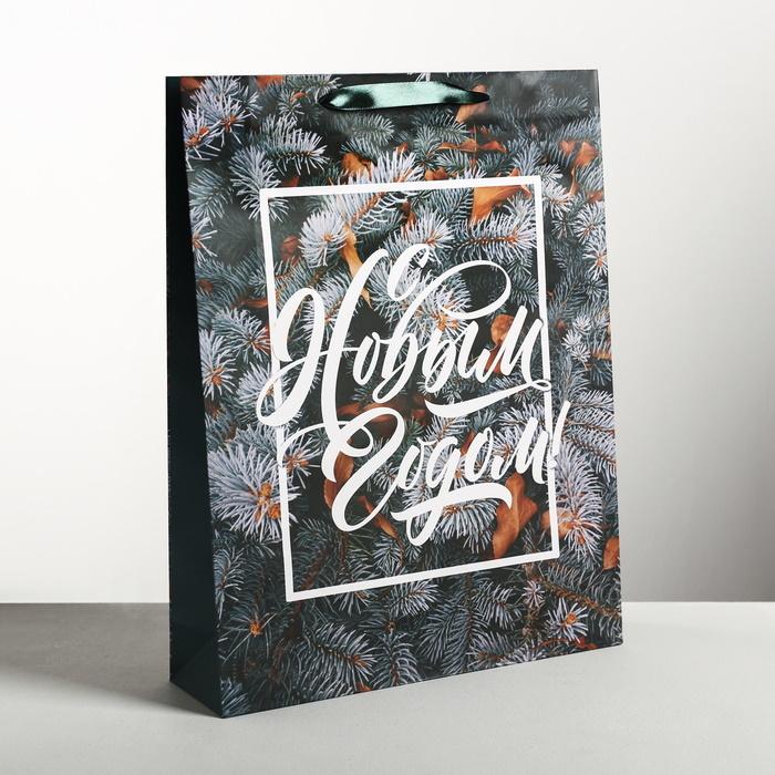 Стильный пакет ламинированный вертикальный «С Новым годом» ветки ёлки фото