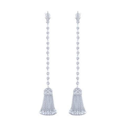 4805- Серьги с кисточками  из серебра с цирконами