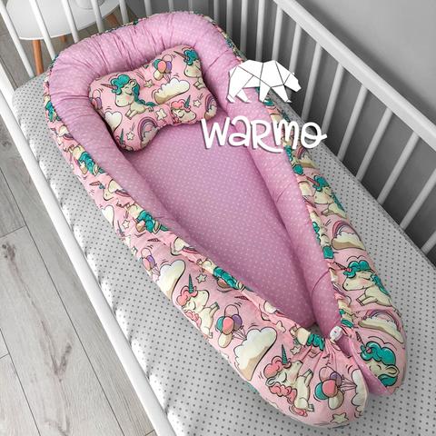 Кокон (гніздечко) для новонароджених Warmo ™ РОЖЕВІ ЄДИНОРОГИ