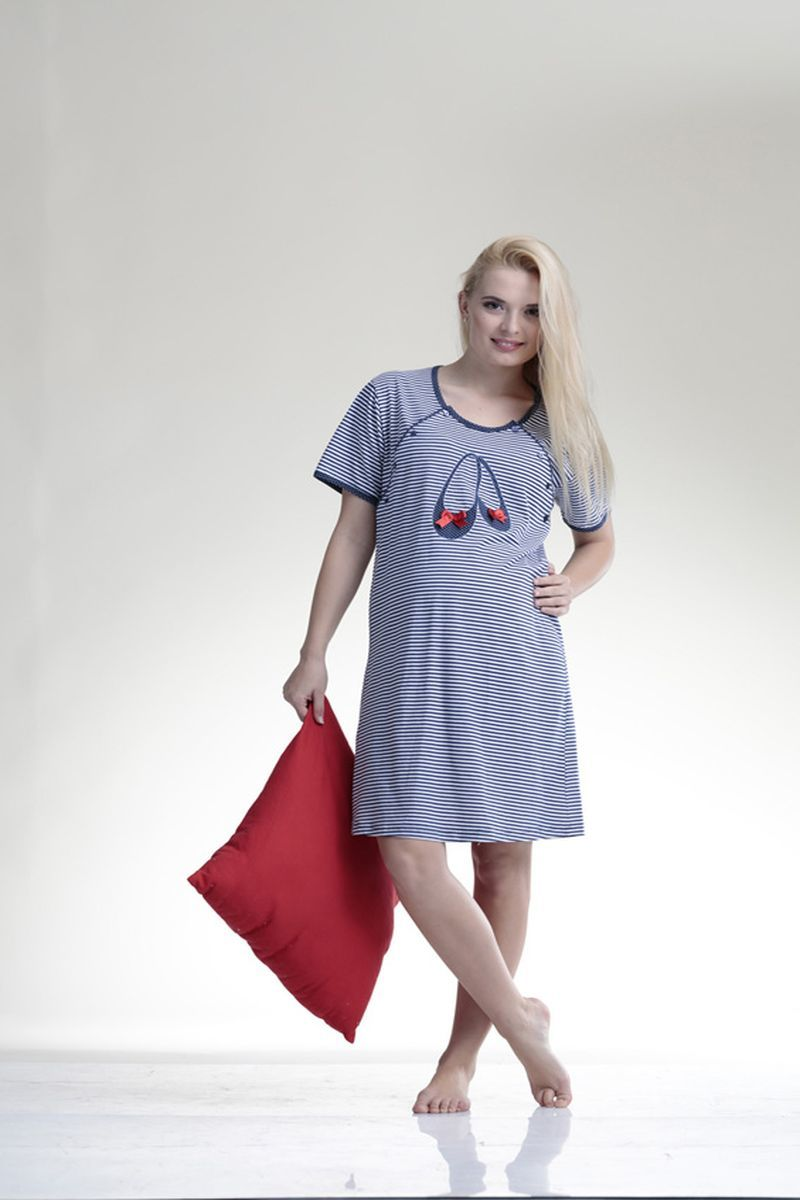 Сорочка для беременных и кормящих 08370 полоска