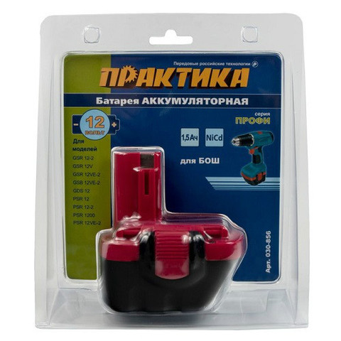 Аккумулятор для BOSCH ПРАКТИКА 12В, 1,5 Ач, NiCd блистер (030-856)
