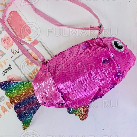 Сумочка-Рыба на молнии для девочки детская через плечо в пайетках меняет цвет Розовая-Лиловая