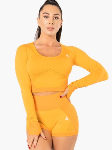 Кроп-лонг-слив жен. для фитнеса Riderwear Seamless Electra Electric