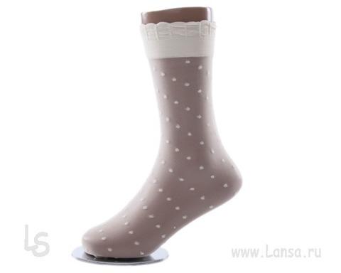 Носки детские капроновые 20 den молочные в горох