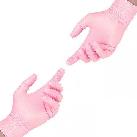 Перчатки нитрил розовые SunViv S, 100 шт