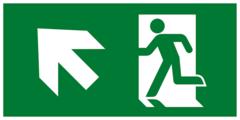 Е34 Направление к эвакуационному выходу налево вверх - современный эвакуационный знак