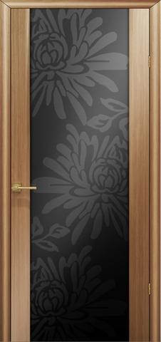 Дверь Модерн (стекло чёрное цветы) (светлый дуб, остекленная шпонированная), фабрика LiGa