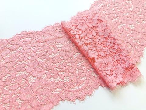 Эластичное кружево, 20 см, розово-коралловое, м