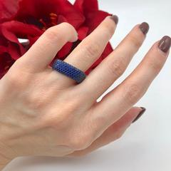 Кольцо-дорожка  из серебра с синими микроцирконами
