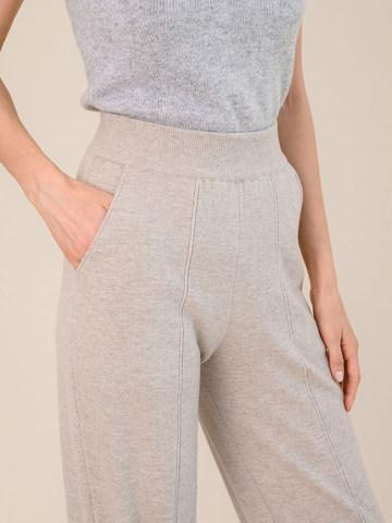 Женские брюки бежевого цвета из шерсти и кашемира - фото 5