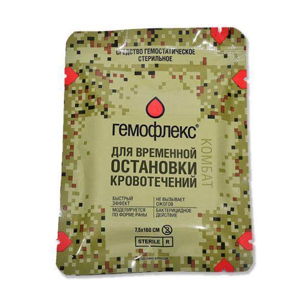 Кровоостанавливающий бинт Гемофлекс Комбат (гемостатическое перевязочное средство)