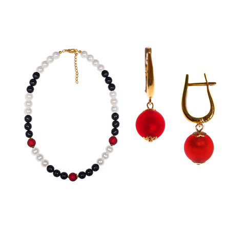 Комплект Giorno e Notte черно-бело-красный (серьги на серебре, ожерелье)