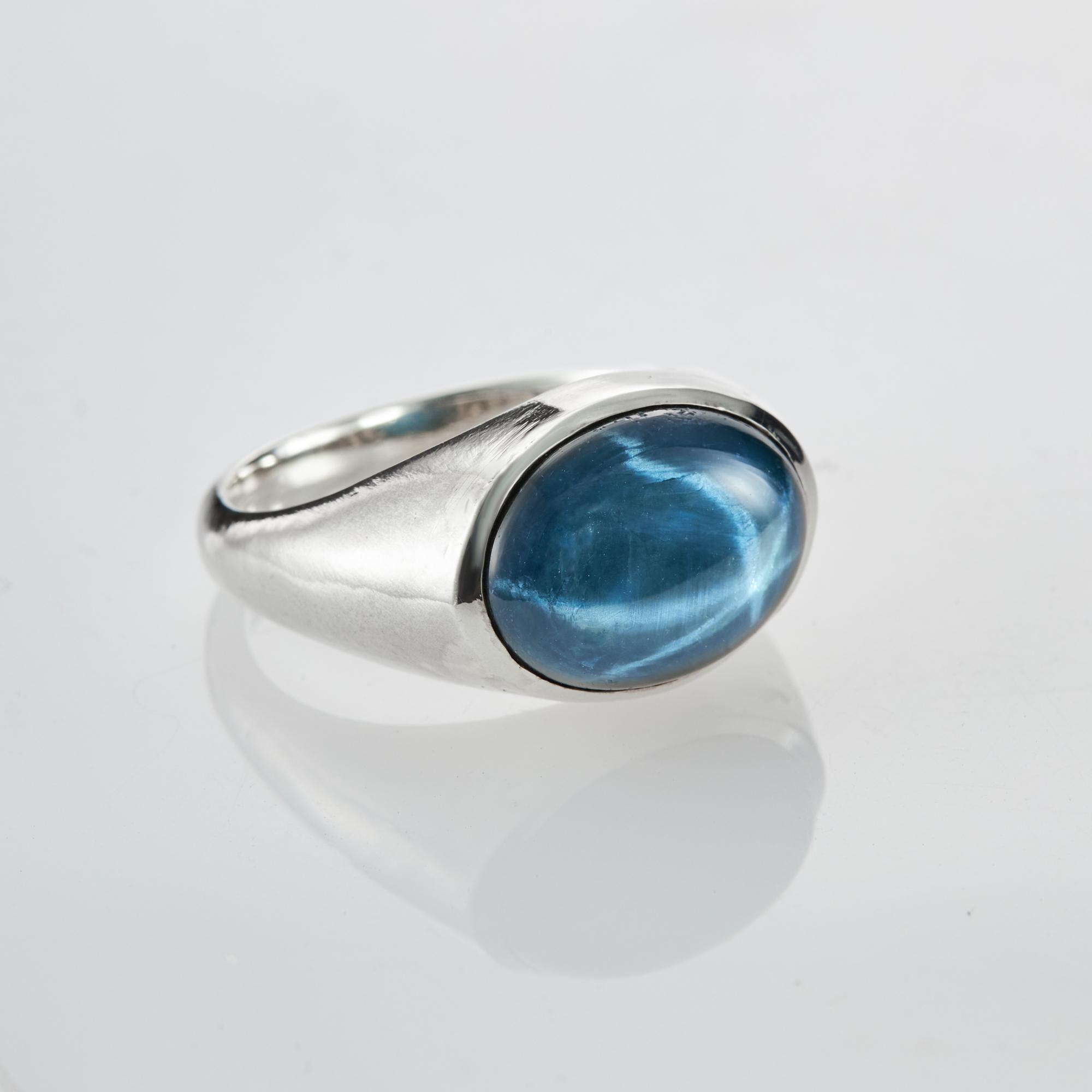 Кольцо AMBA - Синий звёздчатый сапфир