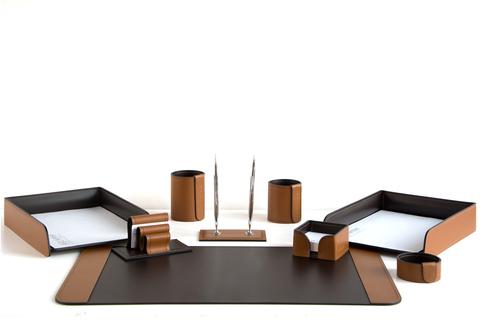 Настольный письменный набор 9 предметов, кожа натуральная, цвет табак/шоколад №61