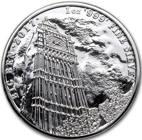 2 фунта. Биг-Бен Часовая башня - Достопримечательности Англии. 2017 год. Серебро