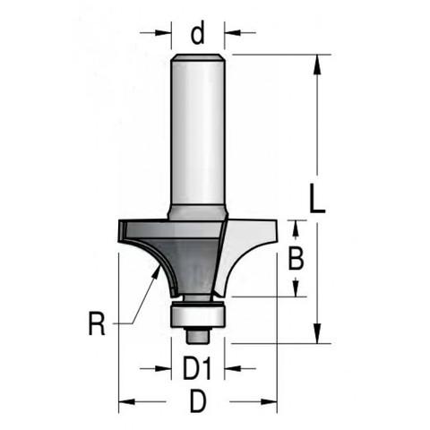 Фреза радиусная с подшипником Dimar 28.6x13.5x53x6 R8.0 RW08005