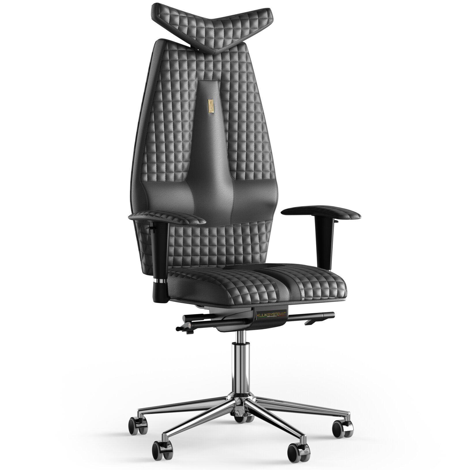 Кресло KULIK SYSTEM JET Кожа с подголовником со строчкой