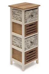Тумба с 4 ящиками Secret De Maison Легенда (LEGENDE) ( mod. HX15-060 ) — butter white/brown (слоновая кость/коричневый) (ткань -в полоску)