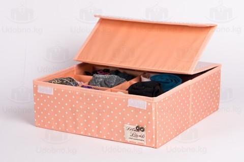 Складной органайзер, 16 ячеек, 32*32*12 см (розовый в горошек)