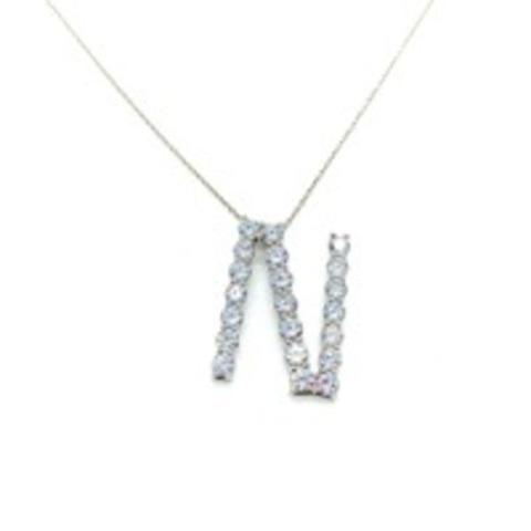 Подвеска из серебра с ослепительными цирконами буква N