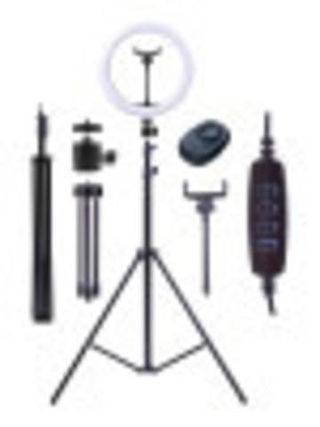 Кольцевая LED-лампа (диаметр 26 см) с двумя штативами и селфи-пультом