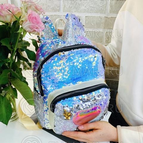 Рюкзак-единорог в двусторонних пайетках «Сердце» (цвет: Перламутровый голубой Хамелеон-Зеркальный)