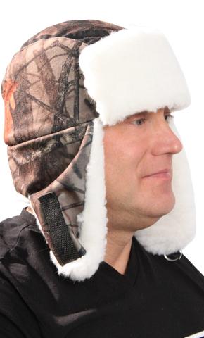 Шапка-ушанка Алова ЛЕС с белой меховой опушкой