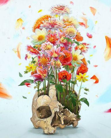 Алмазная Мозаика 40x50 Цветы в вазе из черепа