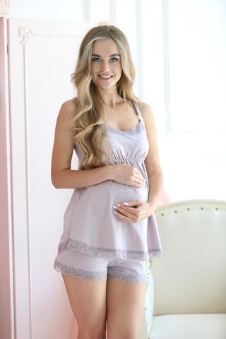Пижама для беременных и кормящих 09988 серый
