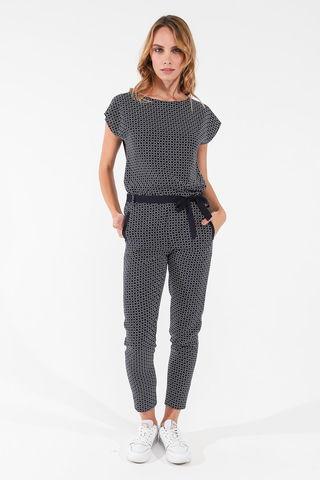 Фото укороченные легкие темно-синие брюки с геометрическим принтом - Брюки А507-544 (1)