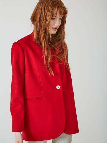 Жакет однобортный из шерсти красный