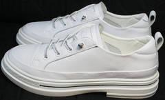 Стильные туфли кроссовки для повседневной носки женские El Passo sy9002-2 Sport White.