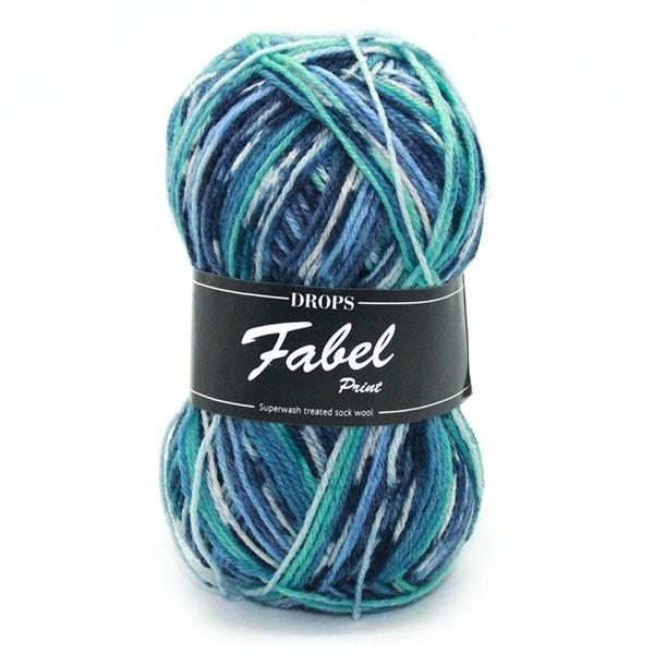 Пряжа Drops Fabel 522 бирюзово-синий