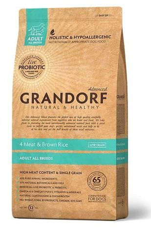 GRANDORF DOG 4 Meat&Rice PROBIOTIC ALL BREEDS (4 мяса с рисом и пробиотиками для всех пород) 12кг