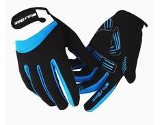 Велосипедные перчатки Wolfbike длинные (голубые)